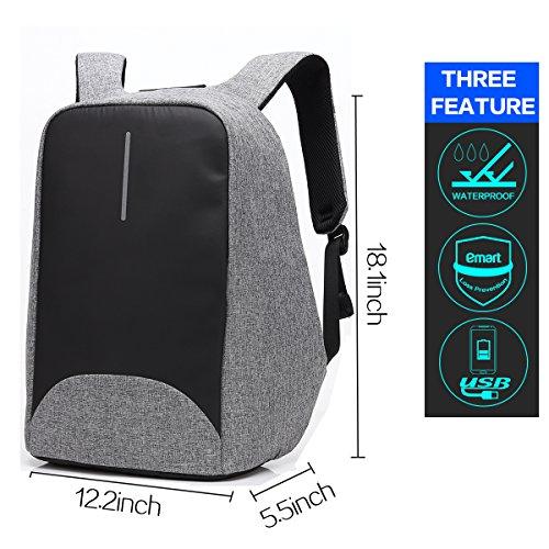 Imagen de hxss impermeable anti robo portátil 15,6 pulgadas 20 l duradero  para viajes grey alternativa