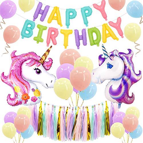 MMTX Einhorn Partydekorationen liefert Party Ballons für Baby Boy Lady Geburtstagsparty, Hochzeit (Macarons Unicorn)