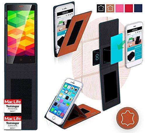 reboon Hülle für Ulefone BE X Tasche Cover Case Bumper | Braun Leder | Testsieger