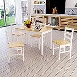 Panana Esstisch Stuhl Set Essgruppe Tischgurppe, Esstischgruppe Sitzgruppe Esszimmergarnitur, 108 x 65 x 73 CM , Tisch mit 4 Stühle, Holz - Natur