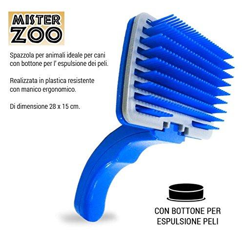 Spazzola Pettile Per Cani Gatti Animali Con Tasto Espulsione Peli 28x15 cm Blu - Zoo Blu Animali