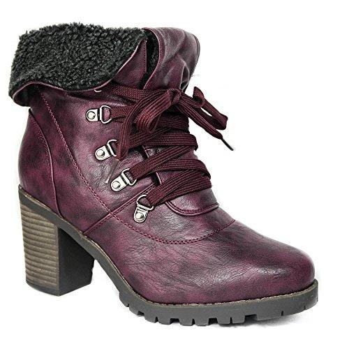Damen Stiefeletten gefüttert Boots Stiefel High Heels Winter ZH220 Aubergine