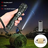 Freshmarque Powerful LED Tactical Flashlight XHP50 USB Rechargeable Super Bright Waterproof Zoomable Torch