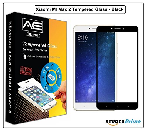 Annant Entp™ Premium Full Screen Edge To Edge Coverage 2.5D Curved HD+ Tempered Glass Screen Guard Protector For Mi Max 2 - (Black Edition)