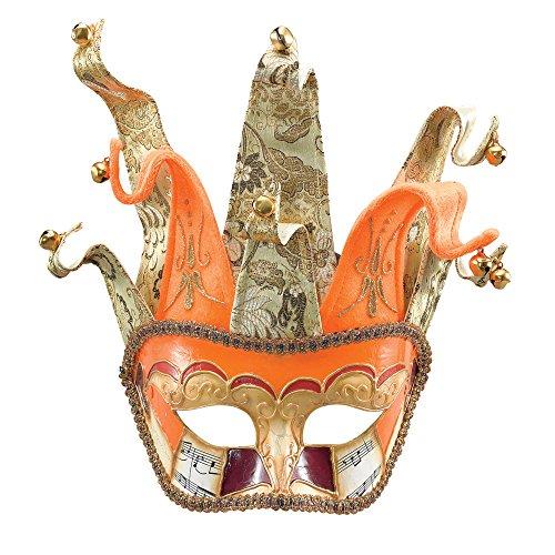Bristol Novelty em234Venezianische Jester auf Haarreif Fashion Rolle spielen und Zubehör, gold/orange/rot, One (Burlesque Augen Masken)