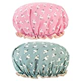 2 Packs Elastic Band Bath Caps Double Layers Shower Caps With Ruffled Edge Covering Ears Keeping Hair Dry Fitting Perfectly on Head for Girls and Women