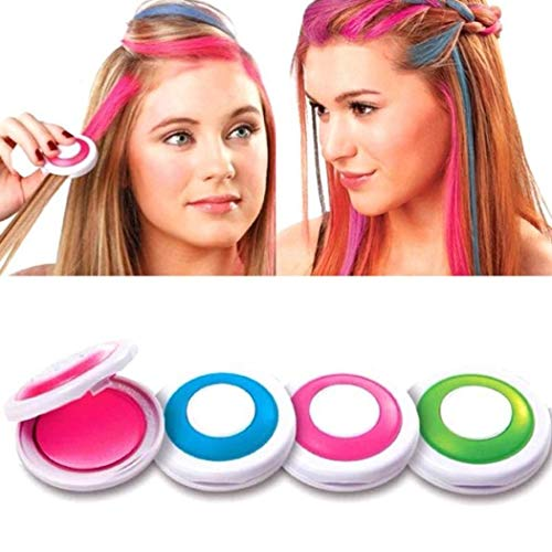 Nisels Haarkreide, Auswaschbare Haarfarbe Kreide Haartönung Für Kinder Haarfärbemittel, Party Und Cosplay Diy Lila Rosa Grün Blau (1er Pack)