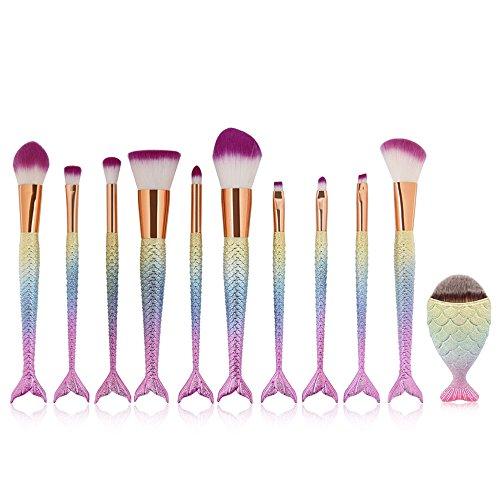 Meerjungfrau Makeup Bürsten Make-up Pinsel Set Schönheit Werkzeuge Efforty 10 Stück Pulver...