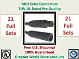 Solar Connectors for Photovoltaic Solar Panels Mc3 Solar Connector in 20 Pack Plus 1 Free Bonus Pack by TUV Rated Greener World Store Brand