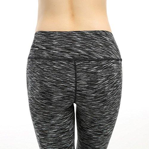Phennies Femme Pantalon Collant en Maille de Sport Taille Haute Elastique Yoga Leggings Fitness Gym Entraînement Pilates Gaine pour Femme Fille Gris fondé