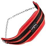 Dip-Gürtel / (Dipgürtel, Dippgürtel) / Gewichtsgürtel aus Nylon mit Kette schwarz/rot