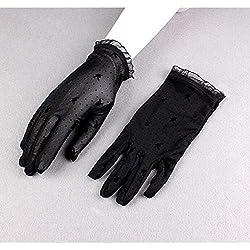 Huasho Guantes de Malla con Estampado de Puntos de Primavera y Verano para Mujer Guantes de Malla con protección UV Femenina Perspectiva Transpirable Guante de conducción de Encaje,Negro