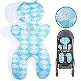 Luchild Sitzauflage Kinderwagen Sommer Atmungsaktive Sitzeinlage für Buggy Babyschale Kindersitz Universal (Blau)