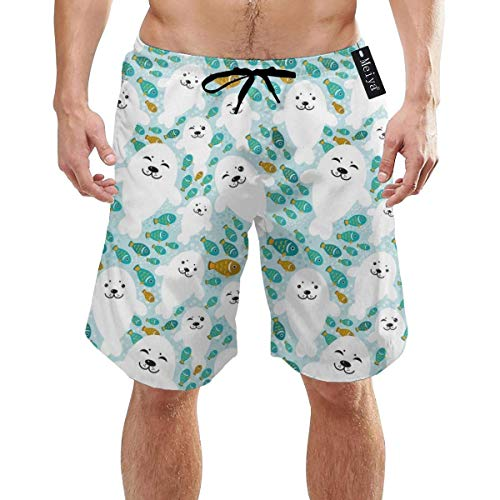 Herren Flat Back Mesh Short (Flat Coated Retriever Dog Florals Mint Mens Summer Swim Trunks 3D Graphic Quick Dry Funny Beach Board Shorts with Mesh Lining(XL))