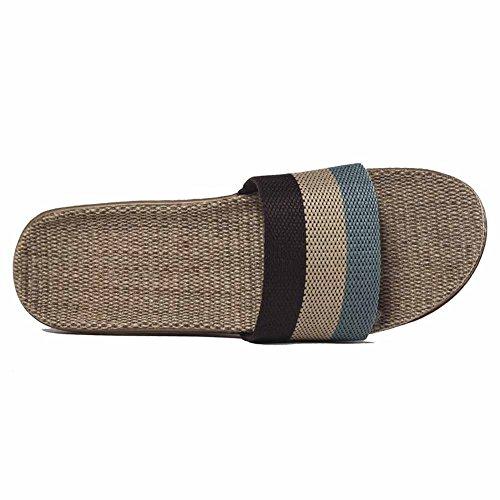 Oriskey Unisex Damen Herren Leinen Stripes Flache Hausschuhe Skidproof Haus Indoor Pantoffeln Sommer Kaffee + Beige + Blau CJyZC1HiCn