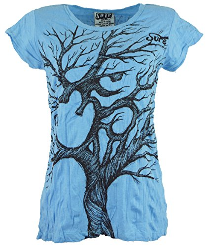 Guru-Shop Sure T-Shirt Om Tree, Damen, Hellblau, Baumwolle, Size:M (38), Bedrucktes Shirt Alternative Bekleidung