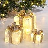 LED decoratieve gift dozen in crème - set van 3 incl. timerfunctie - kerstdecoratie kerstdecoratie geschenken