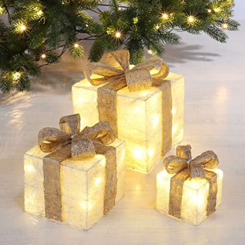 LED Deko Geschenk Boxen in creme - 3er Set inkl. Timer Funktion - Weihnachts Dekoration Weihnachtsdeko Geschenke