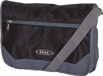 Black & Grey Mens Messenger Bag - Genuine Jeep shoulder messenger bag for men - Mens fabric shoulder bag