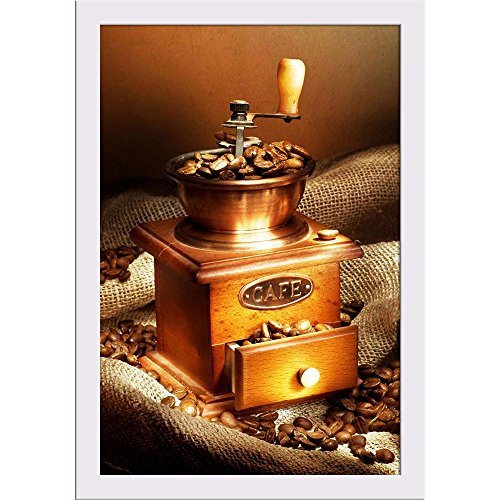 ArtzFolio Coffee Grinder Poster White Frame with Glass 13.5 X 19.5Inch (Grinder Food Tabletop)