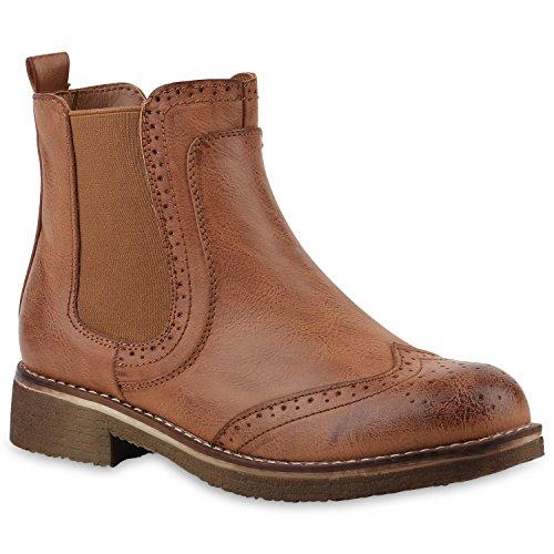 Damen Stiefeletten Chelsea Boots Freizeit Schuhe 145835 Hellbraun Cabanas 38 Flandell (Boot Schuhe Damen)