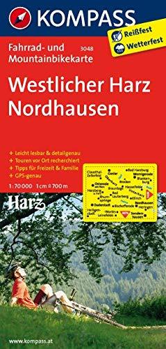 KOMPASS Fahrradkarte Westlicher Harz - Nordhausen: Fahrrad- und Mountainbikekarte. GPS-genau. 1:70000: Fietskaart 1:70 000 (KOMPASS-Fahrradkarten Deutschland, Band 3048)