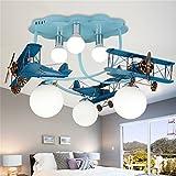 Mode Deckenbeleuchtung-WXP Kinderzimmer Deckenlampe Jungen und Mädchen Schlafzimmer LED kreative Cartoon Flugzeug Beleuchtung Fixtures mit Lichtquelle (E27 * 6) Innenraum Lampen-WXP ( Farbe : Blau )