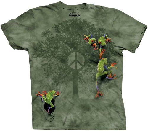The Mountain Herren T-Shirt Peace Tree Frog - Grün - Groß -
