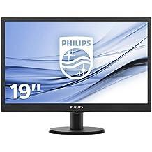 """Philips Monitores 193V5LSB2/10 - Monitor de 18.5"""" (resolución 1366 x 768 pixels, tecnología WLED, contraste 700:1, 5 ms, VGA), color negro"""