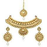 Meenaz Jewellery Gold Plated Kundan Pearl Traditional Necklace Pendant Set Earrings For Women,Girls -Necklace Set 128