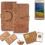 K-S-Trade Schutz Hülle für Lenovo Moto G5 Single-SIM Handyhülle Kork Handy Tasche Korkhülle Handytasche Wallet Case Walletcase Schutzhülle Flip Cover Smartphone