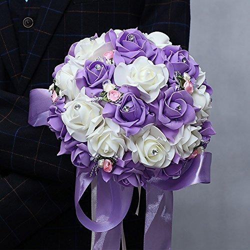 Love cloud bouquet da sposa in raso con bouquet di rose artificiali bouquet da sposa/rosso, purple