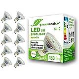 10x greenandco® CRI90+ 3000K 110° LED-spot vervangt 50 Watt GU10 halogeenspot, 5W 430 lumen warmwit 230V AC, flikkervrij, nie