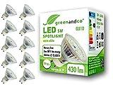 10x greenandco CRI90+ LED Spot ersetzt 50 Watt GU10 Halogenstrahler, 5W 430 Lumen 3000K warmweiß SMD LED Strahler 110° 230V AC Glas mit Schutzglas, flimmerfrei, nicht dimmbar, 2 Jahre Garantie