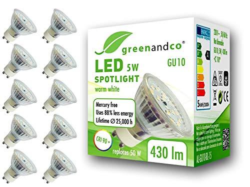 10x greenandco® CRI90+ LED Spot ersetzt 50 Watt GU10 Halogenstrahler, 5W 430 Lumen 3000K warmweiß SMD LED Strahler 110° 230V AC Glas mit Schutzglas, flimmerfrei, nicht dimmbar, 2 Jahre Garantie