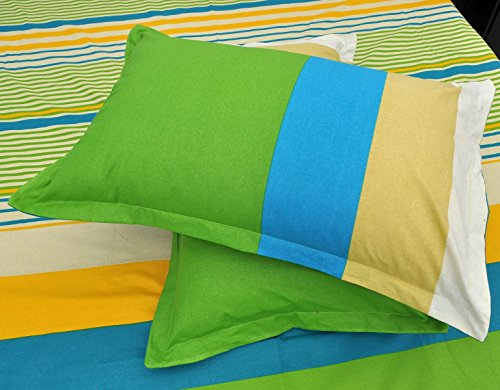Ahmedabad Superior 160 TC Cotton Double Bedsheet with 2 Pillow Covers - Multicolour