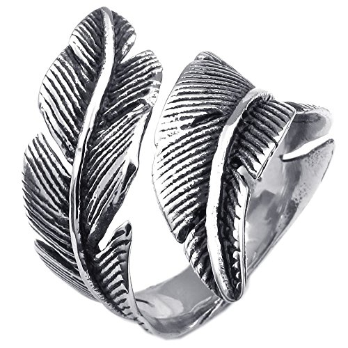 KONOV Joyería Anillo de hombre mujer, Retro Vintage Pluma Feather, Acero inoxidable, Color negro plata - Talla 17 (con bolsa de regalo)