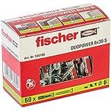 Fischer Taco Duopower S / (Caja de 50 Uds), 555106, Gris y Rojo, 6x30 (tacos + tornillos)