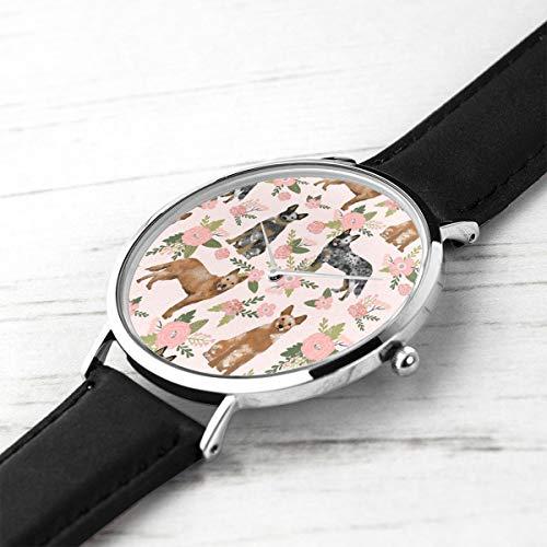 Unisex Ultra Thin Fashion Minimalist Wrist Watches Australian Cattle Dog Pet Quilt D Cheater Quilt Florals Coordinate Waterproof Quartz Casual Watch Mens Womens Womens -