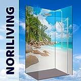 Original NORILIVING Eck- Duschrückwand - Karibik Strand Bucht Seychellen Meer, 2 Platten mit 90x200cm, Rückwand, Bad-Verkleidung, Wandbild, Dekor, Fliesenersatz, schimmelfrei (Alu-Verbundplatte, 2 Platten mit 90x200cm)