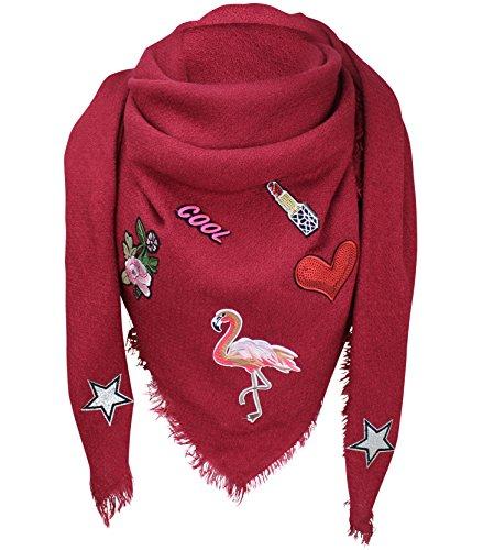 XXL PATCHES STICKER Flamingo Damen Karo Schal Tuch Karoschal Halstuch Fashion Plaid Loop Bordeaux