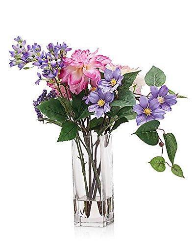 Großer Dahlien- Clematis- Strauß in Glasvase, ca. 52 cm Höhe, künstliches Wasser, Hochwertige Kunstblumen Dekoration. Erstklassige Verarbeitung, naturgetreues Aussehen,