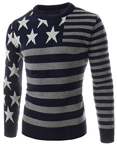 Jeansian Hommes Robe Pull Tendance Chemise Slim Fit Men Fashion Casual Sweater Shirt 88A7 Navy