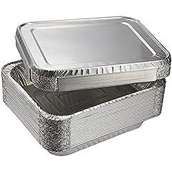 Amaoma 30 Pièces Bols en Aluminium avec Couvercle,Récipients Stockage Aluminium Alimentaire,Contenants pour Aliments Portables 230 ML 400 ML 600 ML