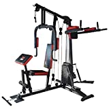 TrainHard HomeGym Multistation Fitnesscenter mit 65KG Gewichten inkl. Dipstation, Beinhebe & Stepper