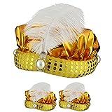 Sonia Originelli 3er SET Orientalischer Hut Wunderlampe Orient Fasching Karneval Kostüm Farbe Gold