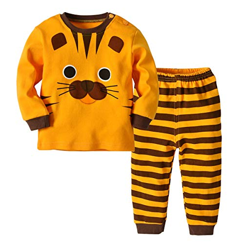 ALLAIBB Kinder Kleinkind Pyjama Sets 2PCs Tier Cartoon Schlafanzüge 6M-4Y Size 110 (Tiger)