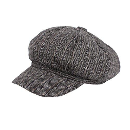 FEITONG Frauen Retro Wintermütze Mütze Berets Flat Cap Damen Schirmmütze Barett Mütze Damen mit Visor (Hut-Umfang:58cm, Dunkelgrau)