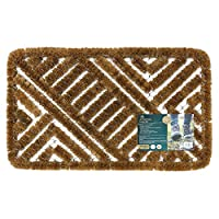 JVL Boston Natural Coir Steel Scraper Outdoor Entrance Door Mat, Metal, Brown, 39 x 59 cm