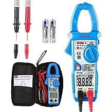 Pinza Multímetro Amperimetrica Digital Janisa MT100 Profesional Clamp Meter Corriente AC,Voltaje AC/DC, Amperímetro Voltímetro Ohmímetro Automática Corriente Tensión Frecuencia con Data Holding LCD Retroiluminación